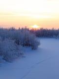 河的冻床 免版税库存照片