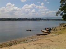 河的caura河岸,横跨密林在波利瓦状态,委内瑞拉 免版税库存照片
