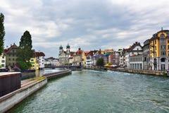 河罗伊斯统治者列表在卢赛恩,瑞士 免版税图库摄影