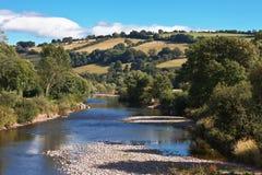 河英国usk威尔士 免版税图库摄影