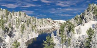 河谷在冬天 免版税图库摄影
