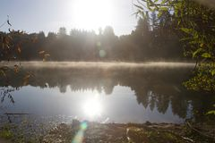 河边区地方公园-钓鱼,划皮船,乘独木舟和直立用浆划的两个美丽的湖 库存图片