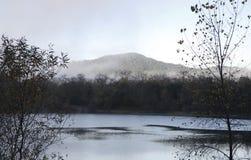 河边区地方公园-钓鱼,划皮船,乘独木舟和直立用浆划的两个美丽的湖 图库摄影