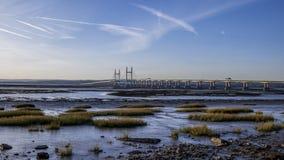 河连接英国和威尔士的Severn桥梁 股票录像