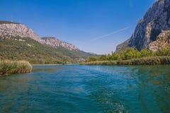 河采廷娜的美丽的绿色峡谷有岩石、石头和反射的在水中,夏天风景, Omis 库存照片