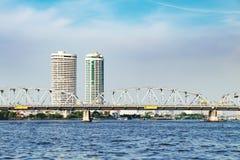 河风景在曼谷市,泰国 免版税库存照片