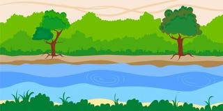 河风景背景 免版税库存图片