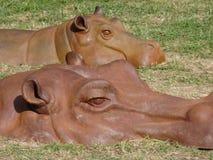 河马雕塑 库存照片
