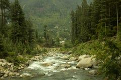 河Beas, Manali, Himachal Pradesh 免版税库存图片
