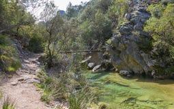 河Borosa走的足迹在山脉卡索拉山 免版税库存照片