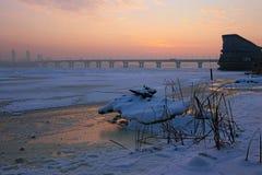 河Dnipro Dnieper左岸的一个美丽如画的早晨视图  与一点雾的冷淡的冬天早晨 免版税库存图片