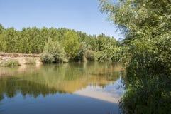 河Esla的看法 库存照片