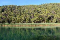 河Krka,克罗地亚的美丽如画的看法 库存图片