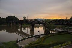 河Kwai桥梁, Kanjanaburi世界大战2历史桥梁 免版税库存图片