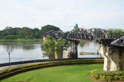河Kwai的桥梁叫作死亡铁路 库存照片