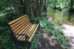 河Lauter在有浪漫地方的阿尔萨斯法国与长凳的木头的 库存照片