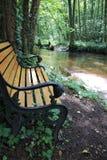 河Lauter在有浪漫地方的阿尔萨斯法国与长凳的木头的 免版税库存图片