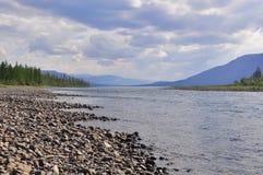 河Muksun, Putorana高原 库存图片
