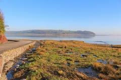 河Taf出海口, Laugharne,威尔士 库存图片
