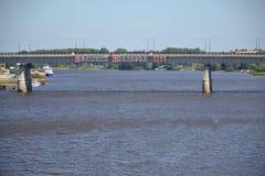 1155河Volkhovriver市建筑学俄罗斯N 免版税图库摄影