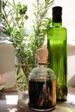 油、醋和草本 免版税库存图片