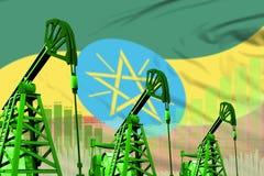 油井的工业例证-埃塞俄比亚在旗子背景的石油工业概念 3d例证 向量例证