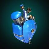 柴油低劣的机器人techno心脏 有管子、幅射器和光滑的蓝色金属敞篷的引擎分开 查出 免版税库存图片