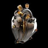 柴油低劣的机器人techno心脏 有管子、幅射器和光滑的黑暗的古铜色金属敞篷的引擎分开 查出 免版税库存图片