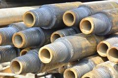 钻油和煤气井的管子 免版税库存照片