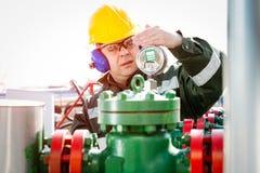 油和煤气产业工作者 免版税库存图片