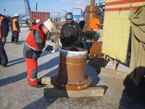 油和煤气管道的建筑 库存图片