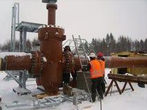 油和煤气管道的建筑 图库摄影