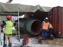 油和煤气管道的建筑 免版税库存照片