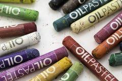 油柔和的淡色彩蜡笔 库存图片