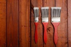 油漆刷三 免版税库存照片