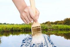 油漆刷在夏天绘在沼泽的雪方式 免版税库存图片
