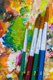 油漆刷调色板 免版税库存照片