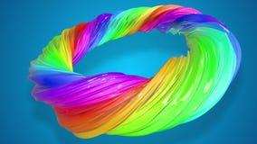 油漆在圈子的流程移动 与形成丝带混杂的油漆的小河的摘要五颜六色的创造性的背景  影视素材