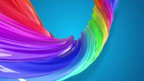 油漆在圈子的流程移动 与形成丝带混杂的油漆的小河的摘要五颜六色的创造性的背景  股票视频