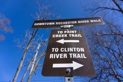 油漆小河足迹和克林顿河足迹在街市罗切斯特,MI 免版税图库摄影