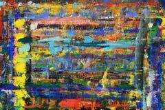 油漆抽象混乱线和斑点在墙壁上的 图库摄影