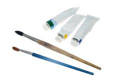 油漆管与画笔的 免版税库存图片