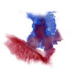油漆飞溅桃红色蓝色颜色墨水水彩被隔绝的冲程泼溅物水彩aquarel刷子 免版税库存照片