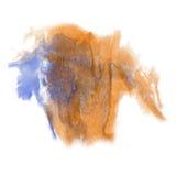 油漆飞溅橙色蓝色颜色墨水水彩被隔绝的冲程泼溅物水彩aquarel刷子 免版税库存图片