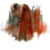 油漆飞溅褐色黑色颜色墨水水彩被隔绝的冲程泼溅物水彩aquarel刷子 库存照片