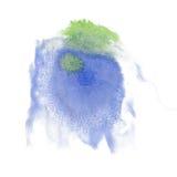 油漆飞溅青绿的颜色墨水水彩被隔绝的冲程泼溅物水彩aquarel刷子 免版税库存图片