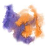 油漆飞溅颜色墨水水彩孤立冲程橙色蓝色泼溅物水彩aquarel刷子 图库摄影