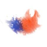 油漆飞溅颜色墨水水彩孤立石灰冲程泼溅物红色蓝色水彩aquarel刷子 库存图片