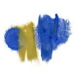 油漆飞溅颜色墨水水彩孤立石灰冲程泼溅物水彩黄色蓝色aquarel刷子 免版税库存照片
