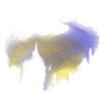 油漆飞溅颜色墨水水彩孤立石灰冲程蓝色泼溅物水彩aquarel刷子 库存图片